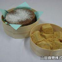 曲げわっぱ(チョコレートケーキ、わらび餅)